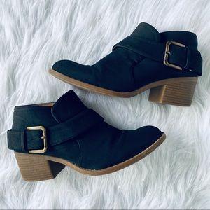 Qupid Black Ankle Heel Booties